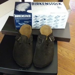 Birkenstock Boston Clog Brown Suede 38 Narrow